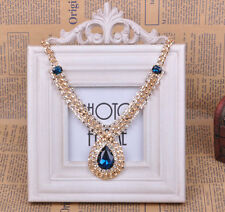 Fashion Jewelry Pear Cut Gold Plated Crystal Teardrop Bib Pendant Necklace Party
