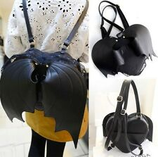 Hot PU Leather Gothic Black Bat Heart Wings Lace Punk Lolita School Bag Backpack