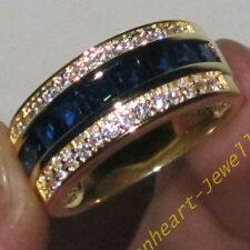 Size 8-13 Classic Mens Jewelry Blue Sapphire 10KT Yellow Gold Filled Band Ring