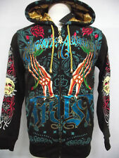 New Christian Audigier mens double Platinum skull claw hoodie shirt jacket nwt