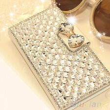Fancy Women Wallet Bling Crystal Diamond Leather Case Cover Protector For iPhone