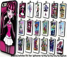 Monster High Frankie Stein Draculaura Lagoo Case for Iphone 4 4s 5 5s 5c 6 6plus