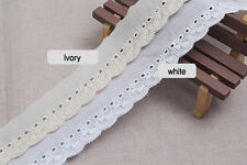 14Yds broderie anglaise vintage cotton eyelet lace trim 3cm YH1398 laceking