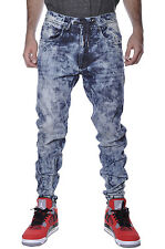 Acid Wash Denim Joggers Jordan Craig Hip Hop Harlem Drawstring Fashion Mens Pant