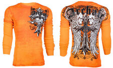 Archaic AFFLICTION Men THERMAL T-Shirt LUSTROUS Skull Tattoo Biker UFC M-3XL $58