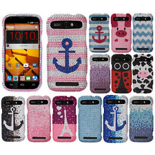 For ZTE Warp Sync N9515 Boost Mobile Chevron Crystal Bling Stone Hard Case Cover