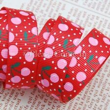 "Grosgrain Ribbon 16mm 5/8"" Red Blooming Cherry"