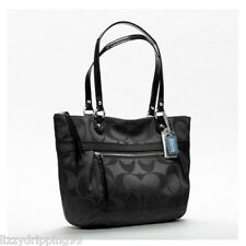 Coach Poppy Black Signature Sateen Purse Tote Shoulder Bag 19865