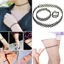 New Fashion Vintage Stretch Tattoo Choker Necklace Set Retro Gothic Punk Elastic