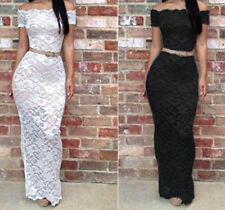 Sexy Women's Floral Crochet Lace Sheer Long Maxi Bodycon Party Cocktail Dress