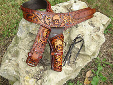 New Tooled Leather With SKULL Western Cowboy Drop Loop Pistol Holster & Belt