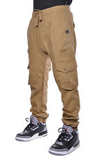 Akademiks Elastic Basic Mens Urban Drop Crotch Harem Cargo Twill Joggers Pants