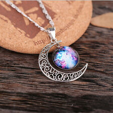 Fashion Galaxy Glass Cabochon Pendant Chain Tone Crescent Moon Necklace New