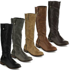 BLOSSOM JAYNE-11 Women's Round Toe Side Zip Elastic Insert Knee High Riding Boot