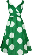 LADIES RETRO ROCKABILLY VINTAGE SWING COTTON DRESS 40's 50'S - GREEN LARGE POLKA