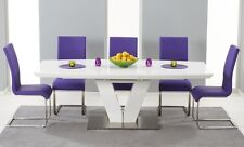 White High Gloss V-Shape 7 Piece Extending Dining Table Set (Malibu Chairs)