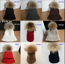 Women Real Raccoon Fur Pompon Hat Fur ball Knitting Baggy Beanie Beret Ski Cap