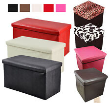 LARGE OTTOMAN FAUX LEATHER STOOL FOLDING SEAT CHEST FOLDABLE STORAGE BOX FOOT