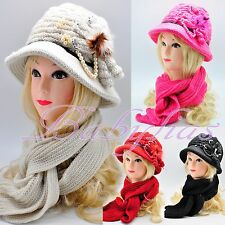 Womens Winter Knit Scarf & Hat Beanie Flower Set Lined Warm Knitted Cap