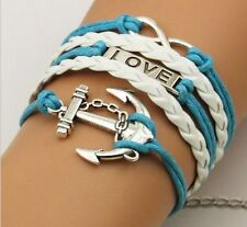 New Hot Infinity Love  Anchor Leather Cute Charm Bracelet plated Silver