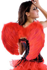 New Sexy Red Angel Wings Costume Outfit Feather Fairy Cosplay Halloween Dark