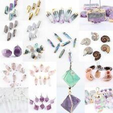1X Freeform Natural Quartz Fluorite Amethyst Gemstone Stone Pendant Fit Necklace