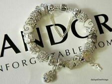 AUTHENTIC PANDORA BRACELET WITH CHARMS WINTER LOVE AND HEARTS