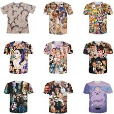 Fashion Unisex  Hip-hop Harajuku Pattern O Neck Loose Short Sleeve T-shirt Tops