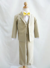 Boy Infant Toddler Teen Khaki/Taupe/white bow tie wedding party formal suit
