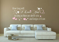 HOW LONG WILL I LOVE YOU .. Ellie Goulding Wall Quote .. Wall Sticker .. Decal..