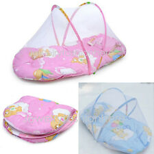 Baby Foldable Crib Tent Bed Mosquito Net Warm Cotton Blends Mattress Pillow New