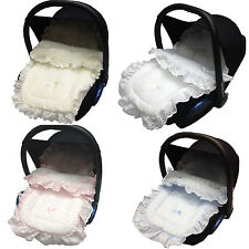 FRILLY BRODERIE ANGLAISE NEWBORN CAR SEAT TO FIT CYBEX FOOTMUFF COSY TOES NEW