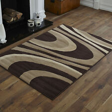 NEW X LARGE LARGE MEDIUM SMALL CHOC BROWN BEIGE CURLY PATTERN CHEAP SOFT RUG MAT