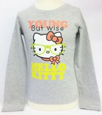 Girls Hello Kitty Grey Young But Wise Long Sleeve T-Shirt AMM-78414