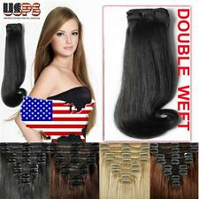 Grade AAAA Clip In Remy Human Hair Extensions Full Head THICK Double Wefted E504