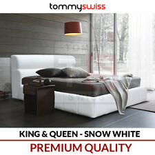 TOMMY SWISS: KING & QUEEN Size Deluxe PU Leather Bed Frame - Snow White B301