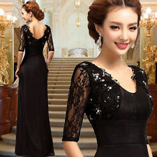 NEW Black Chiffon Tulle Lace Evening Prom Party Dress Ball Gown Diamante SO15
