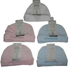 Baby Boys Girls Hats Pack of 2,  Newborn 0-3 Months Blue Pink White 2 Pcs Pack
