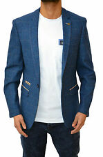 Mens Marc Darcy Blazer Jacket Tailored Fit Check Tweed Top Suit Coat Dion Blue
