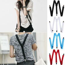 Women Men  Unisex Clip-on Elastic Suspenders Y-Shape Adjustable Braces Solids