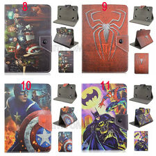 "For 7"" Tablet PC Fold Captain America Spiderman Cartoon Leather Stand Case Cover"