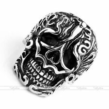 1pc Mens Stainless Steel Carved Skull Biker Finger Ring Jewelry Fashion Gift
