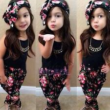 Cute Tops + Pants + Headband Clothes Set Suit Outfits for Baby Girl Kids NI5L