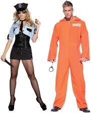 Adult Couples Officer B Naughty and Prison Jumpsuit Cosplay Costumes Halloween
