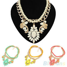 Sumptuous Barock Double Layers String Beads Chain Drop Crystal Pendant Necklace