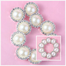 10 Pcs Charming Rhinestone Pearl Silver Tone Shank Round Button Sewing Craft