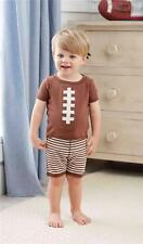 Mud Pie All Boy Collection Football 2 Pc Pajamas Shorts Set 1012178 Summer New
