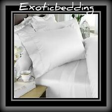 White Solid 4-Piece Bed Sheet Set 1000 Thread Count Egyptian Cotton
