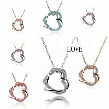 2015 Heart Crystal Pendant Silver/Gold Plated Necklace Charm Chain Necklace