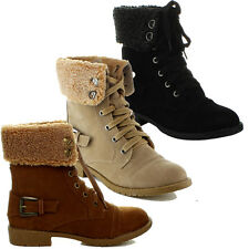 Top Moda AL-5 Women's Foldable Military Combat Boots Laced Up Faux Fur Lining
